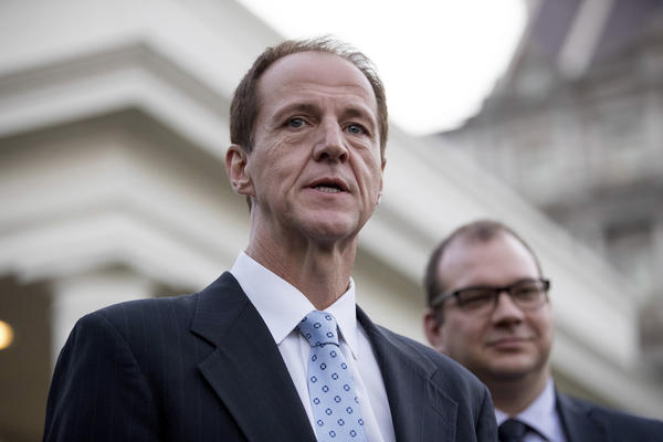Tim Phillips, who heads Americans for Prosperity, the largest of the Koch network's advocacy groups, speaks to the media at the White House in Washington on March 8. (Andrew Harnik / Associated Press)