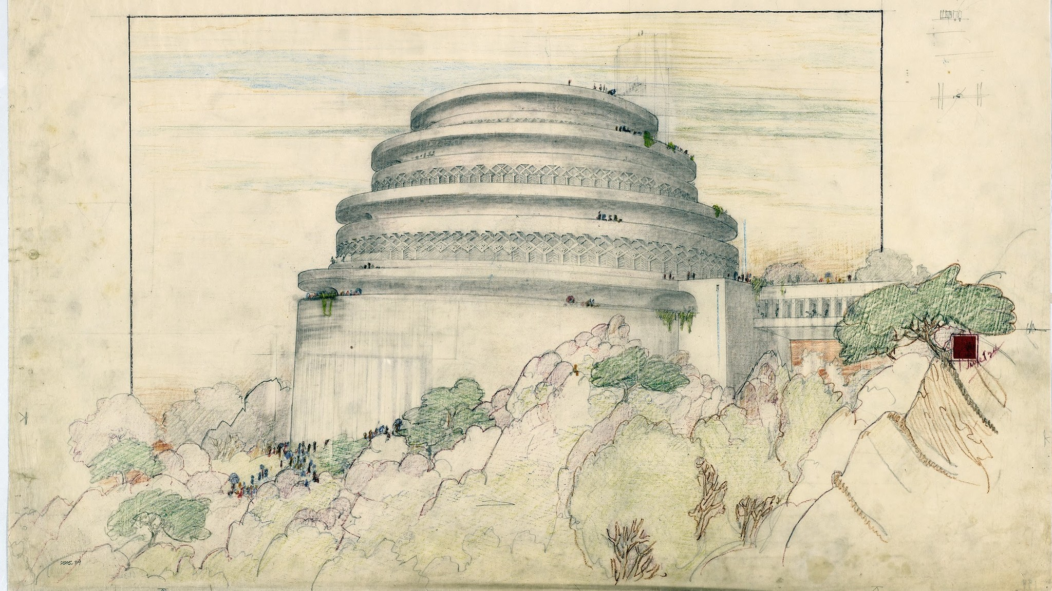 Only about half of Frank Lloyd Wright's designs were built. This drawing was for a scenic overlook and planetarium atop Maryland's Sugarloaf Mountain, a 1920s project that was never built. The drawing is part of the exhibit at New York's Metropolitan Museum of Art.