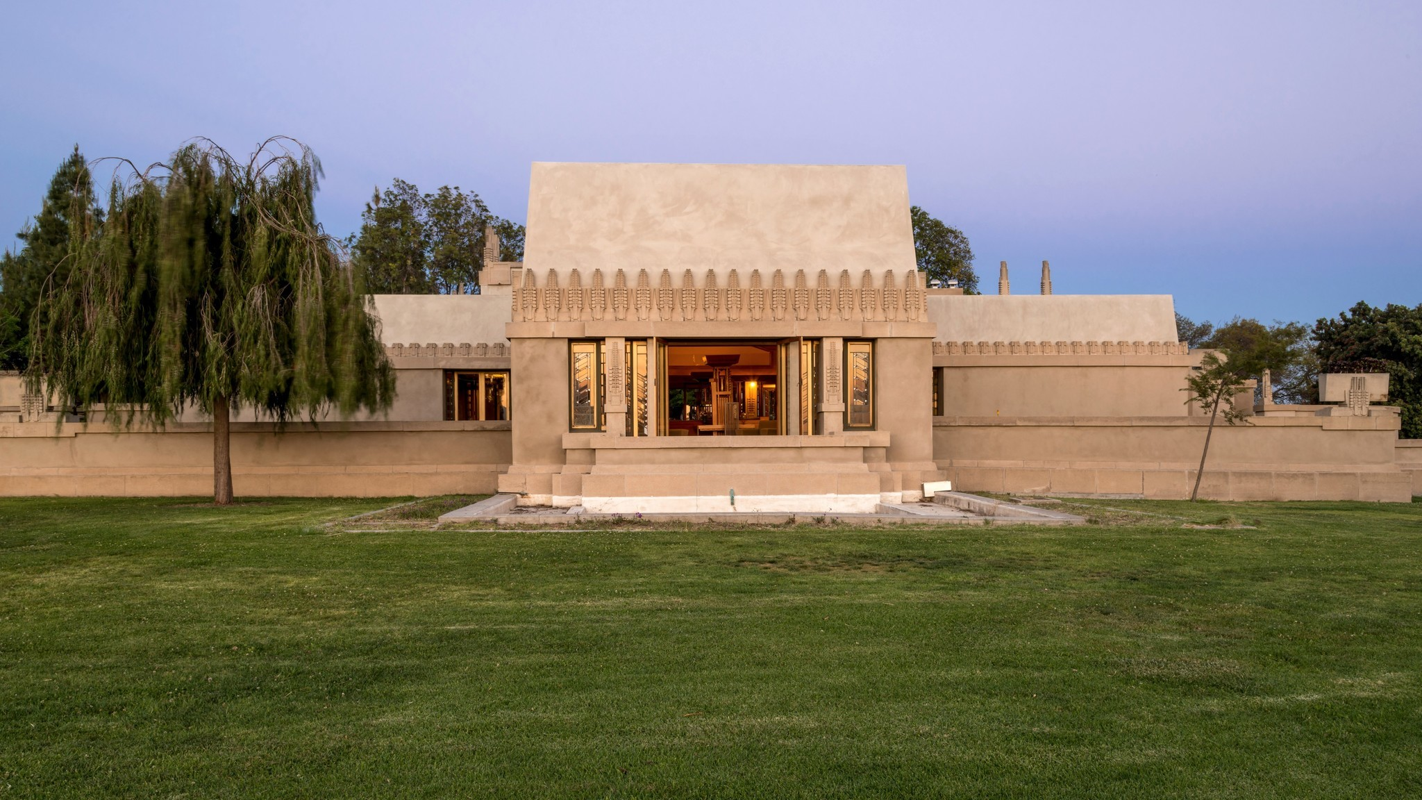 Hollyhock House, Wright's first work in Los Angeles, is now part of Barnsdall Art Park. Tours are offered as part of Friday night wine tastings this summer.