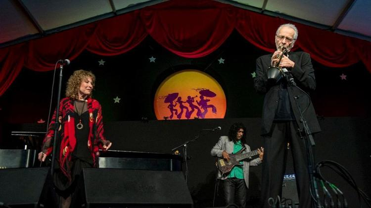 Lani Hall, left, and Herb Alpert, right, perform at the New Orleans Jazz & Heritage Festival on May