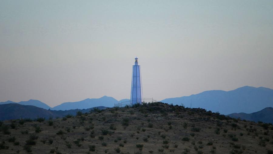 """Desert Lighthouse,"" by Daniel Hawkins, a functioning lighthouse sculpture located near Hinkley, Calif. — outside of Barstow."