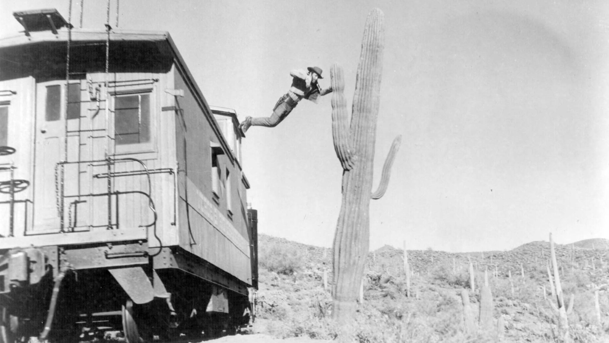 "Loren Janes leaps from a moving train onto a clean-shaven cactus in ""How the West Was Won."""