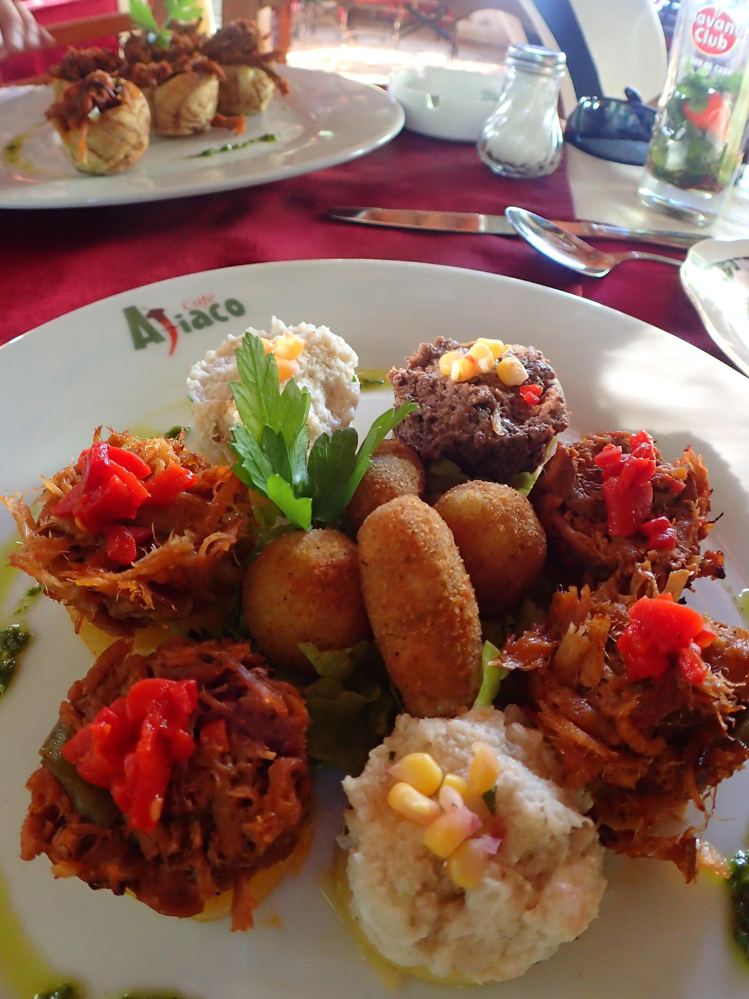 The appetizer sampler platter at Cafe Ajiaco in Cojimar, a seaside town about 15 minutes east of Havana.