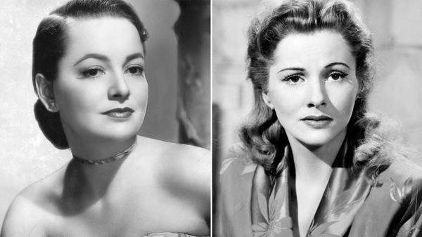 "Left: A portrait of actress Olivia de Havilland in 1945. Right: Actress Joan Fontaine in 1941's ""Suspicion."""