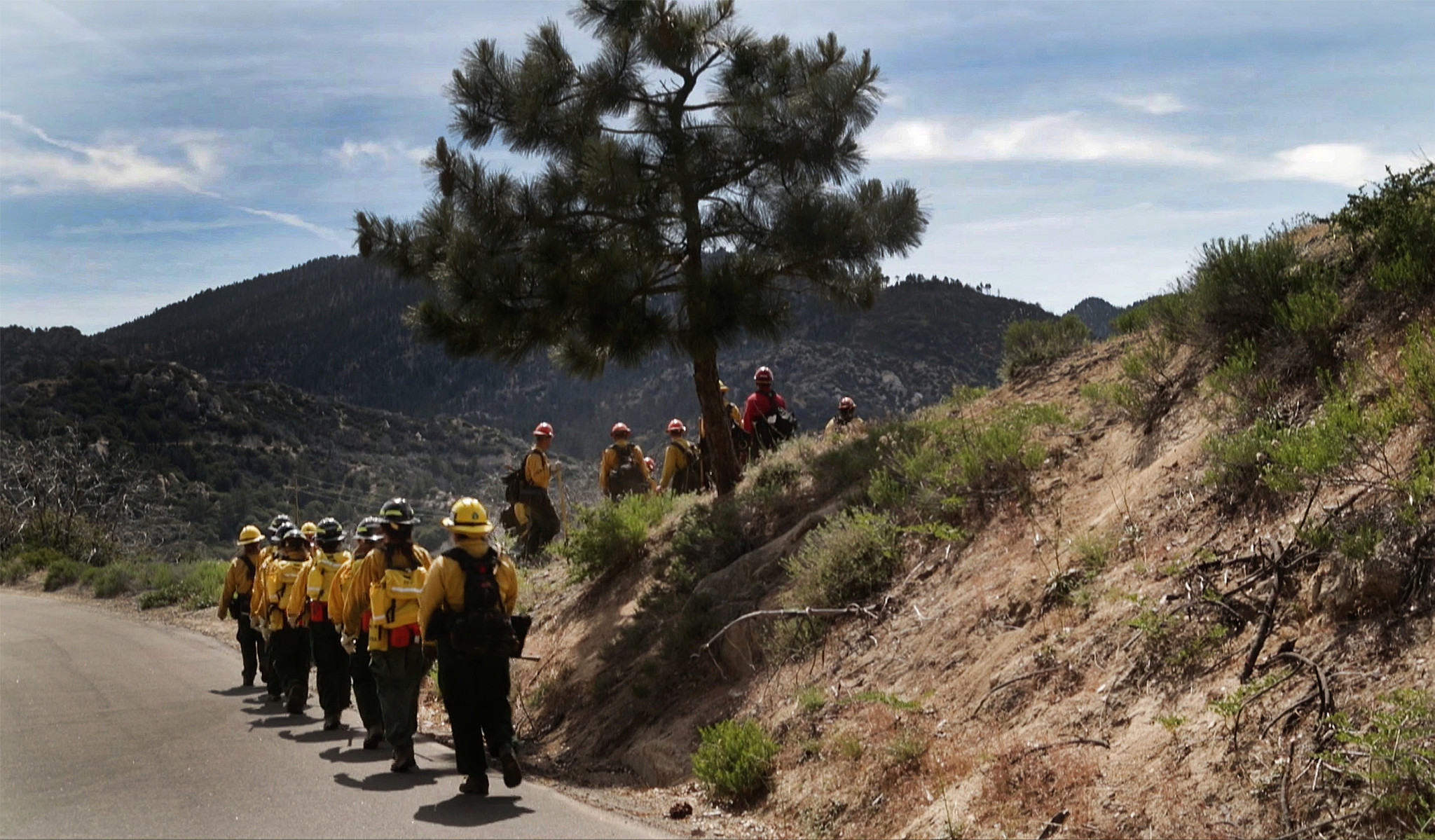 The group gathers for the class' last drill, designed to simulate fully containing a fire on a brush-choked hillside.
