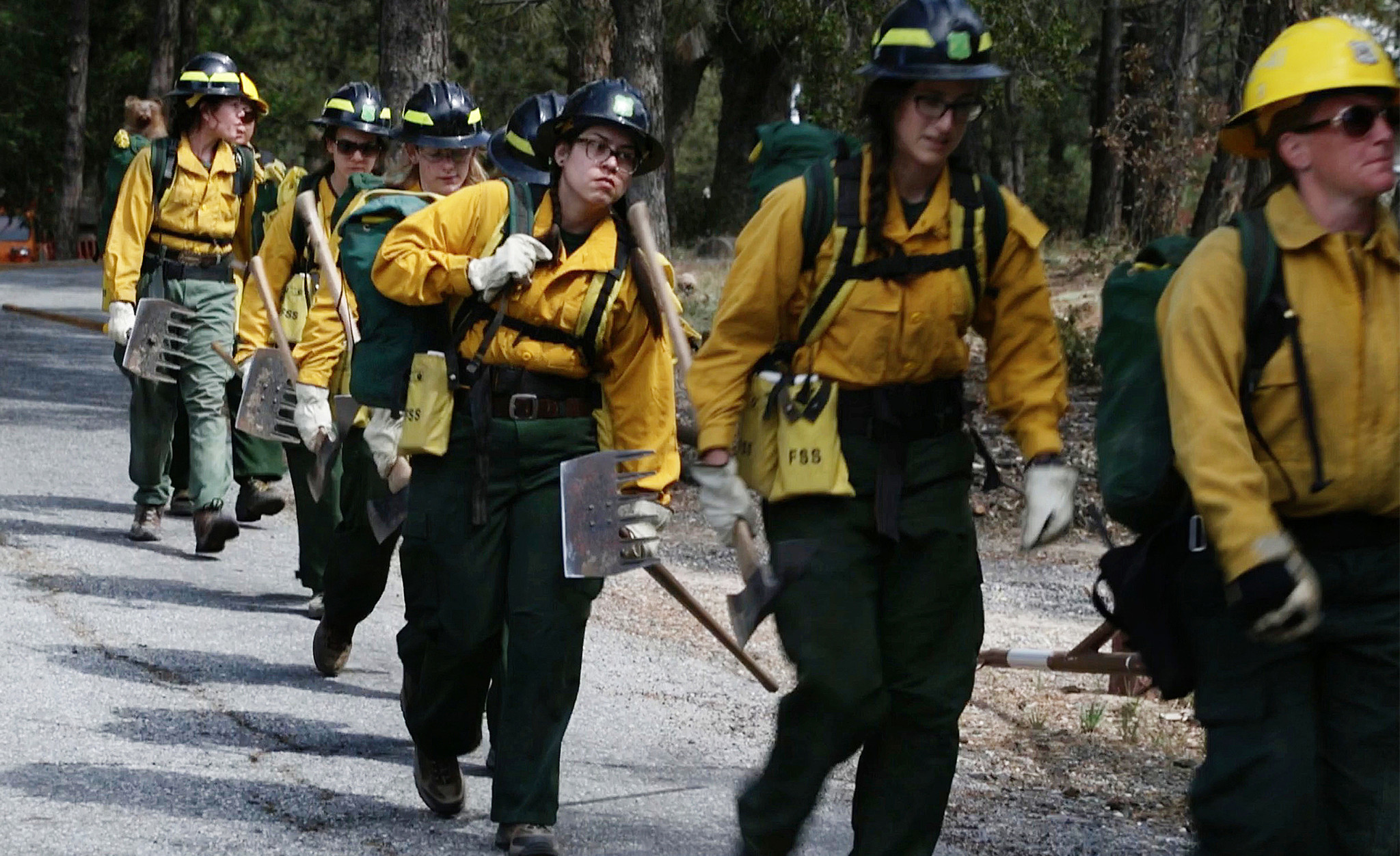 Trainees line up for their final test. The Forest Service's program offers women a chance to launch new firefighting careers.