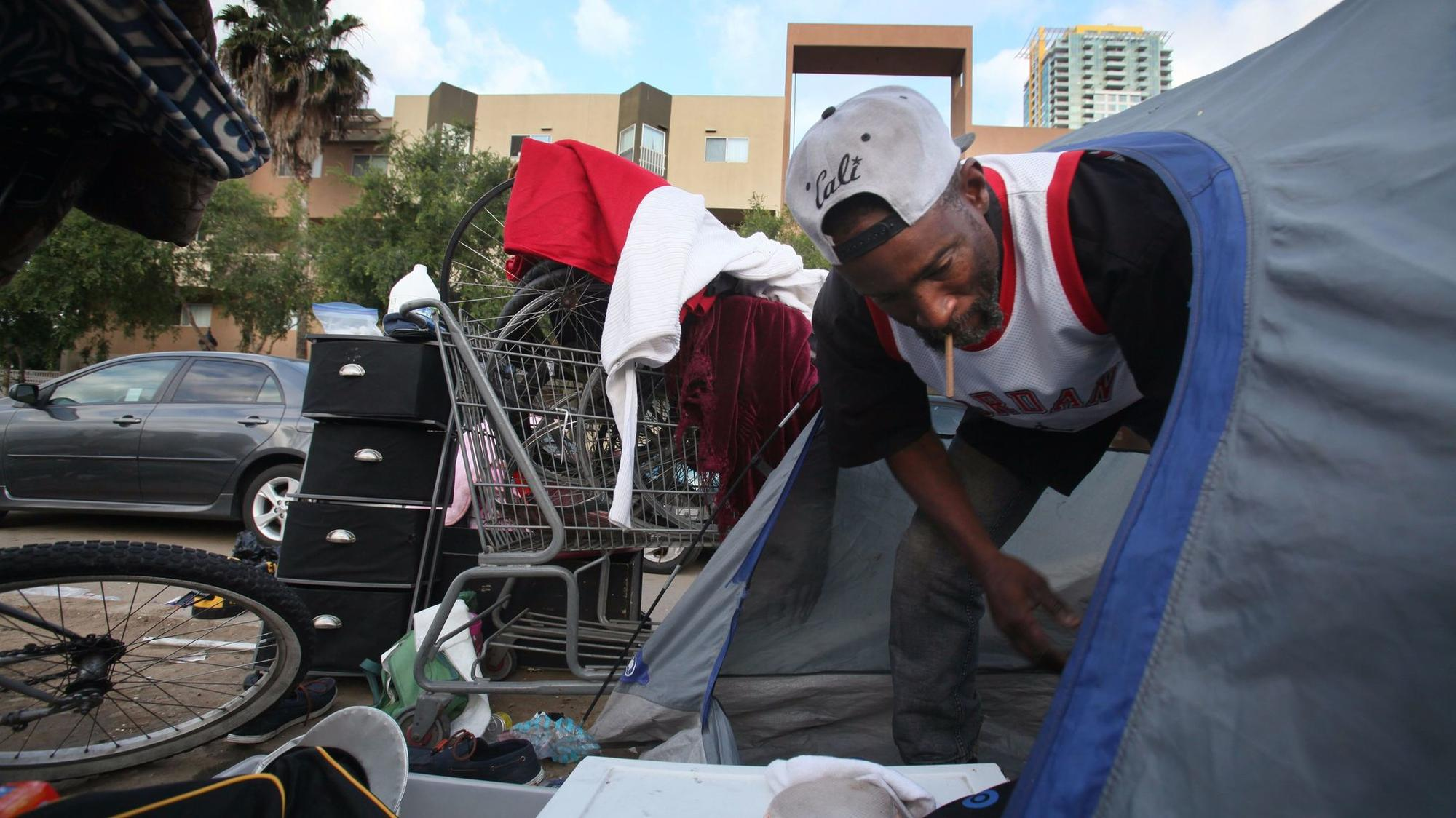 """June 28, 2017 San Diego, CA. USA """"I don't know why they just don't make homelessness illegal,"""" said"""