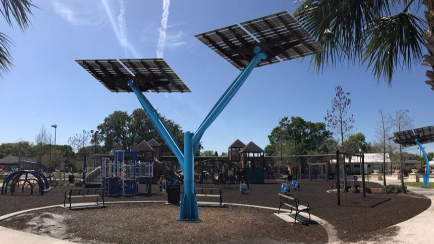 New Solar Trees At Fort Mellon Park Turn Sun S Rays Into