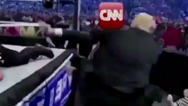 President Trump's tweet on Sunday used an edited version of a years-old promotional video for professional wrestling. It showed him attacking a crudely rendered stand-in for CNN. None
