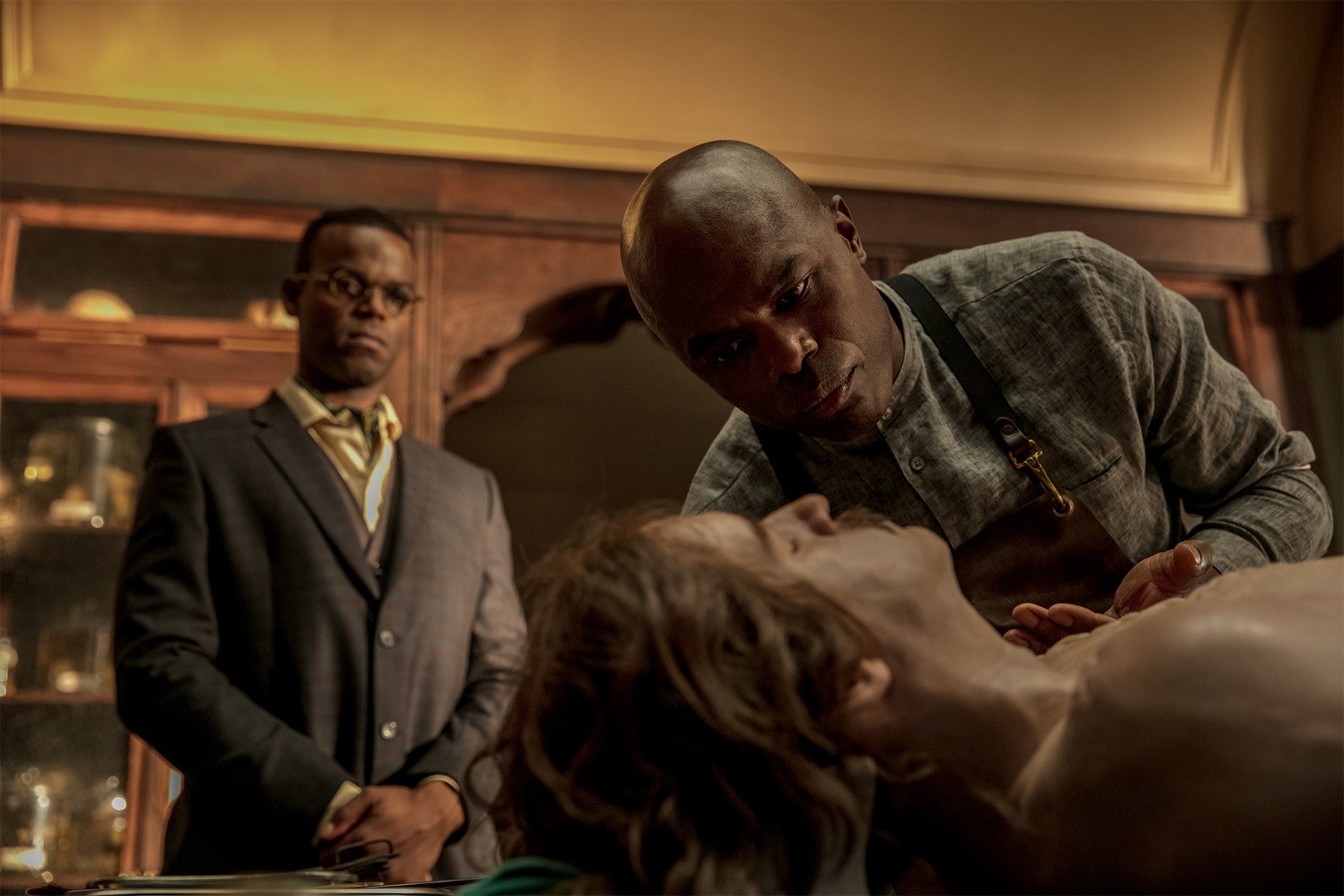 "Demore Barnes as Mr. Ibis and  Chistopher Obi as Mr. Jacquel on ""American Gods."""