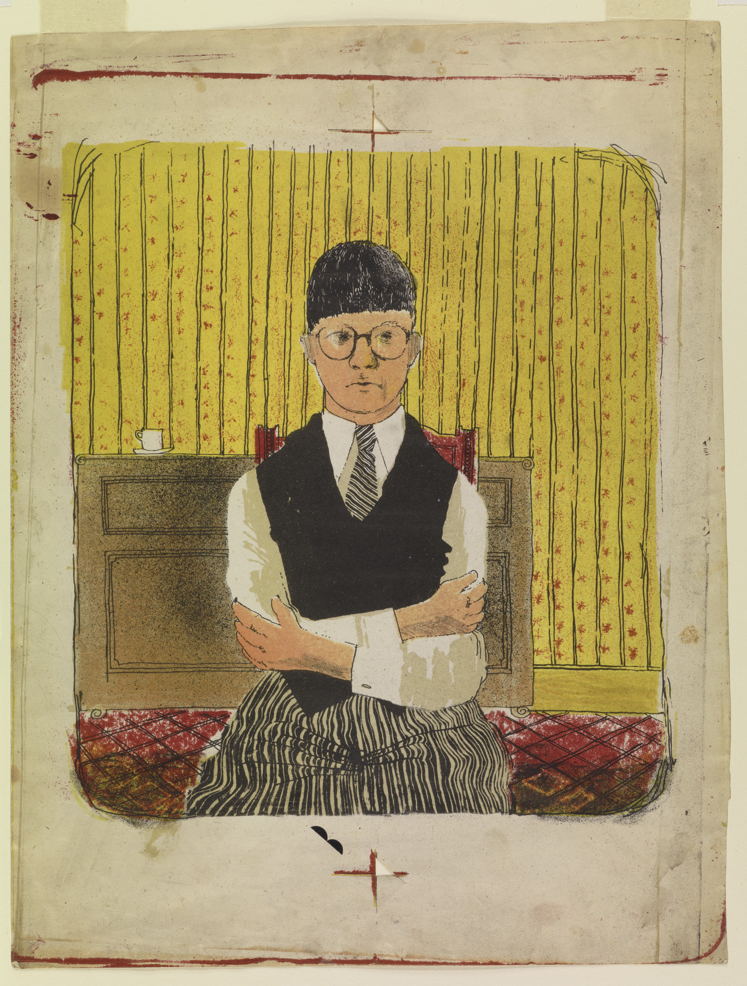 "David Hockney, ""Self Portrait,"" 1954, lithograph in five colors, 11.5 inches by 10.25 inches"