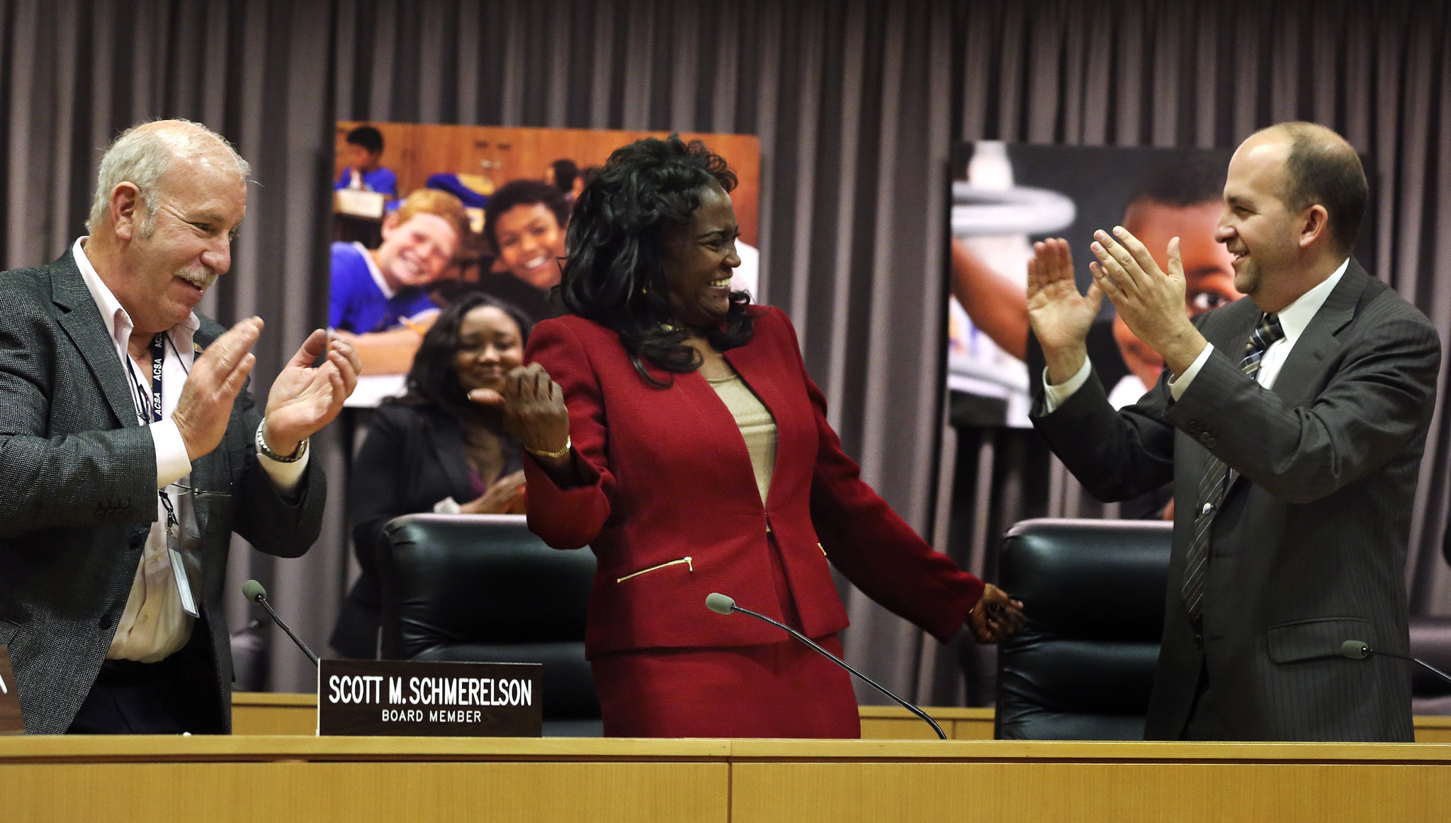 So far, L.A. schools Supt. Michelle King has won plaudits from board members, including Scott Schmerelson, left, who is staying, and Steve Zimmer, right, who is leaving.
