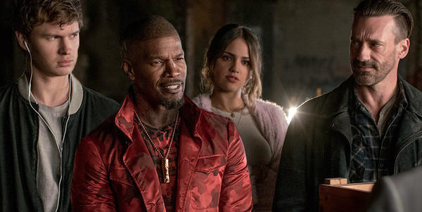 "From left, Ansel Elgort, Jamie Foxx, Eiza Gonzales, and Jon Hamm in ""Baby Driver."" (Sony/TriStar)"