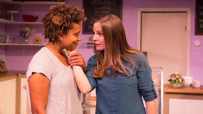 Shannon Lucio as Della's longtime family friend Jen, right, and Carolyn Ratteray as Jen's bride to b