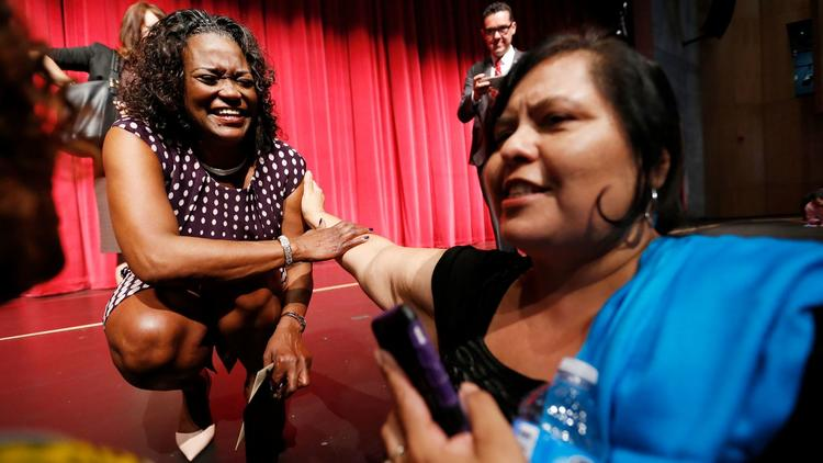 L.A. schools Supt. Michelle King, left, with school board member Monica Garcia (Al Seib / Los Angeles Times)