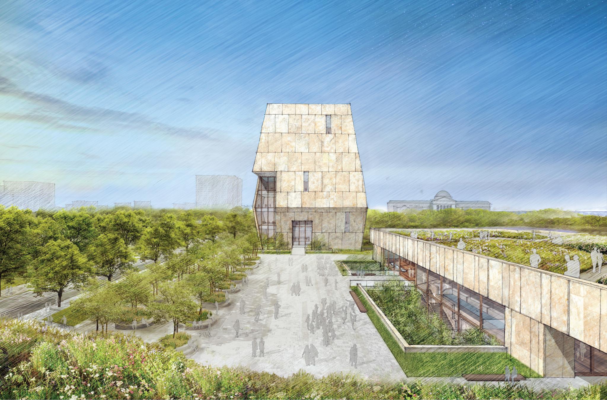 obamas unveil design of center in chicago chicago tribune