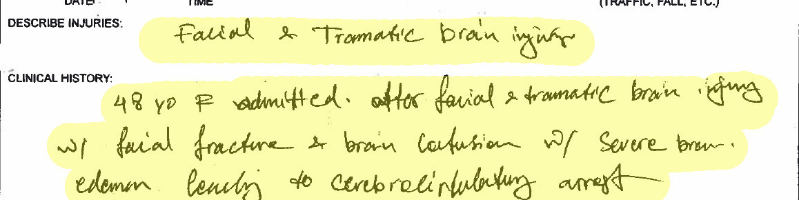 Hand-written notes from the coroner describe Alecia Benson's injuries.