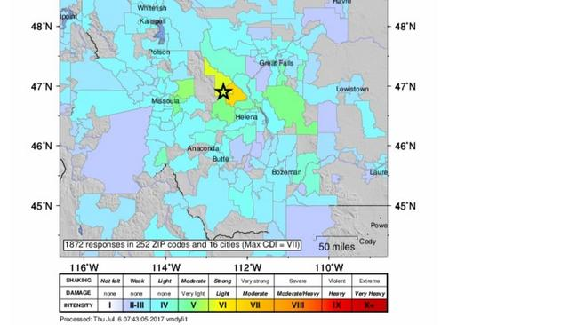 Rare  Earthquake Strikes Western Montana The Areas Strongest - Us earthquake map