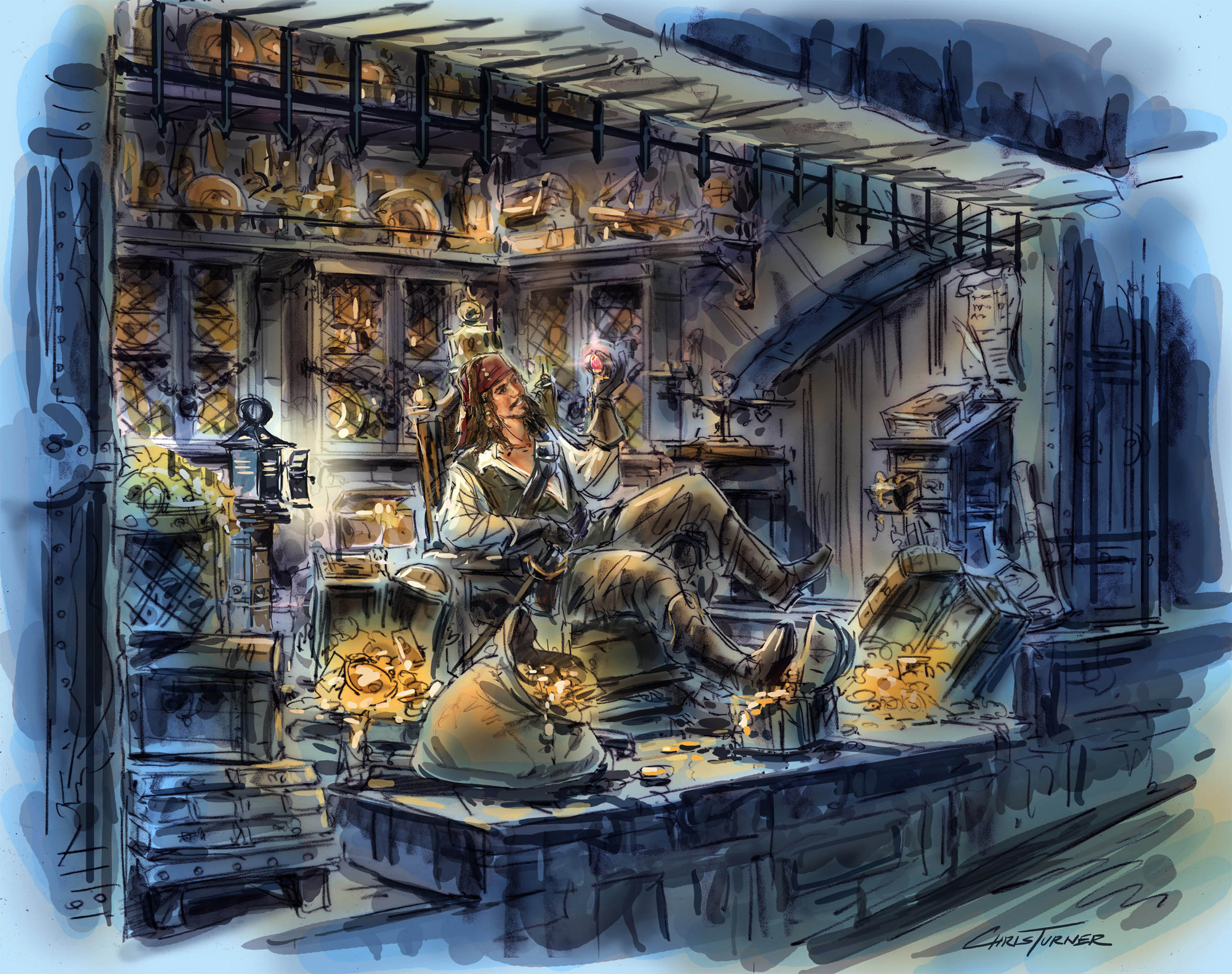 An artist's rendering of Jack Sparrow in the Pirates attraction.