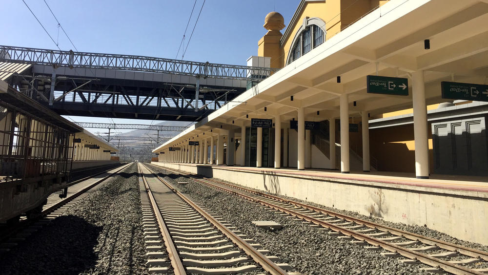 The new train station in Addis Ababa, Ethiopia, is one terminus of the Chinese-built Ethiopia-Djibouti Railway, which extends to the port of Djibouti. — Photograph: Noah Fowler/Los Angeles Times.
