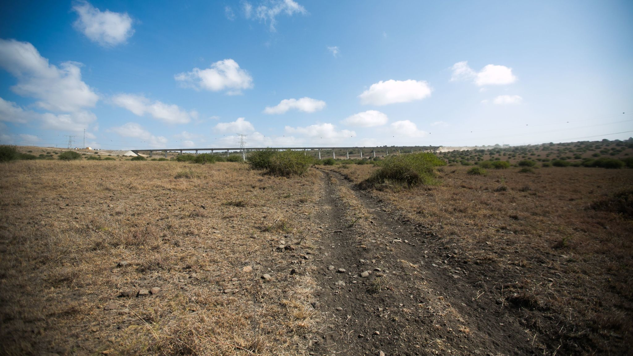 The Chinese-funded railway in Kenya from Nairobi to Mombasa cuts through part of the Nairobi National Park.