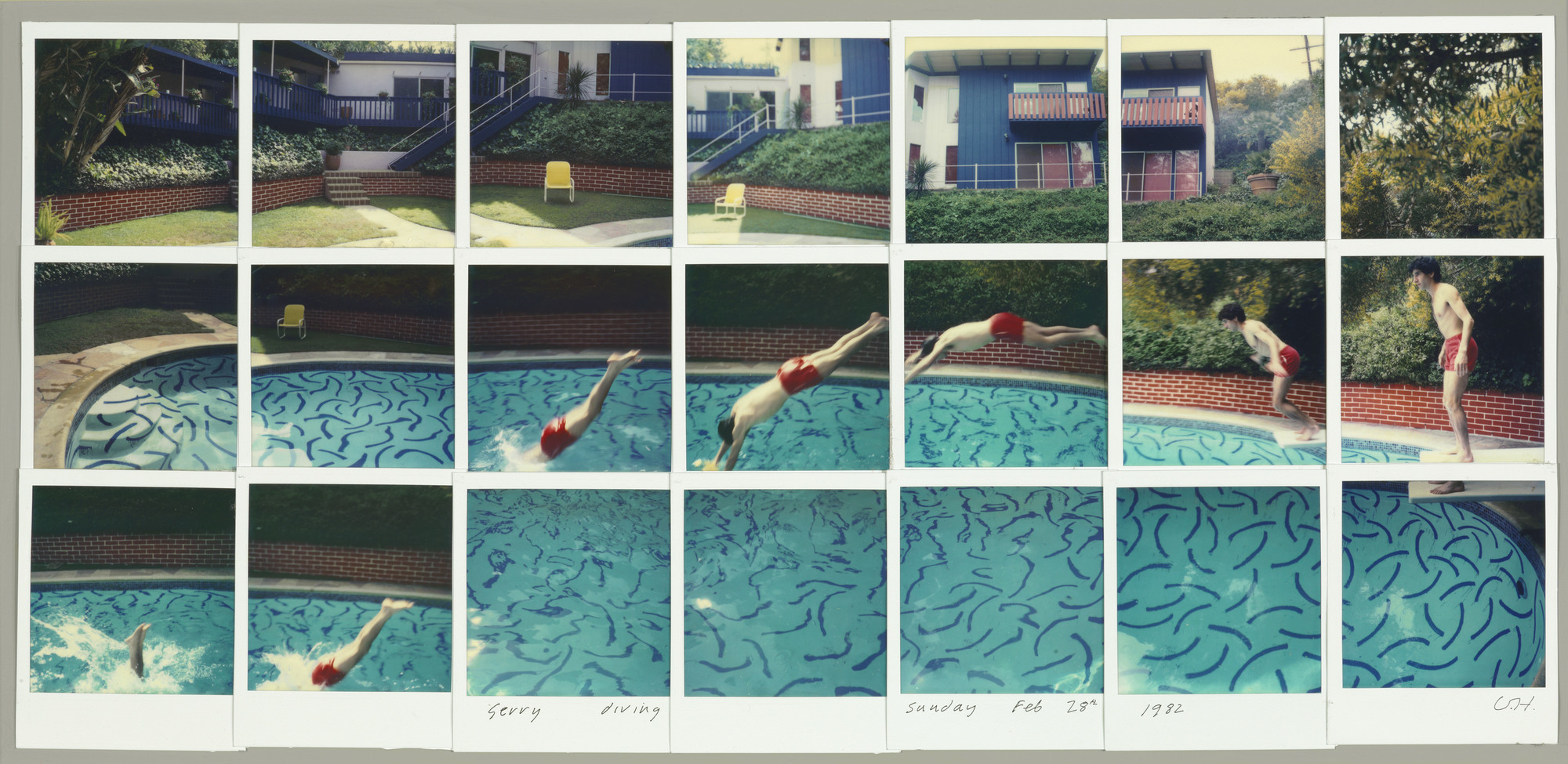 "David Hockney, ""Jerry Diving Sunday Feb. 28th 1982,"" composite Polaroid, 10.5 inches by 24.5 inches."