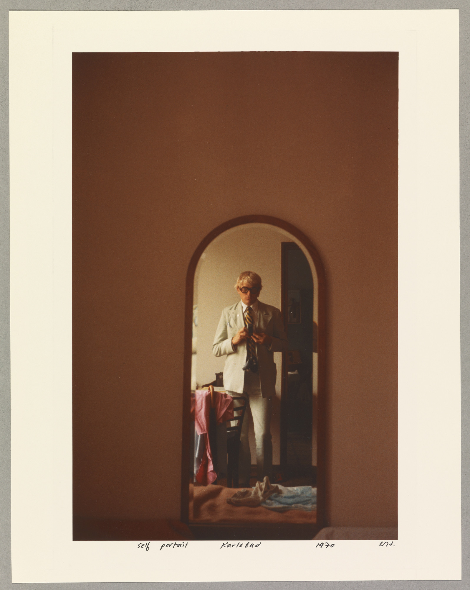 "David Hockney, ""Self Portrait. Karlsbad 1970,"" chromogenic print, 14 inches by 11.25 inches"