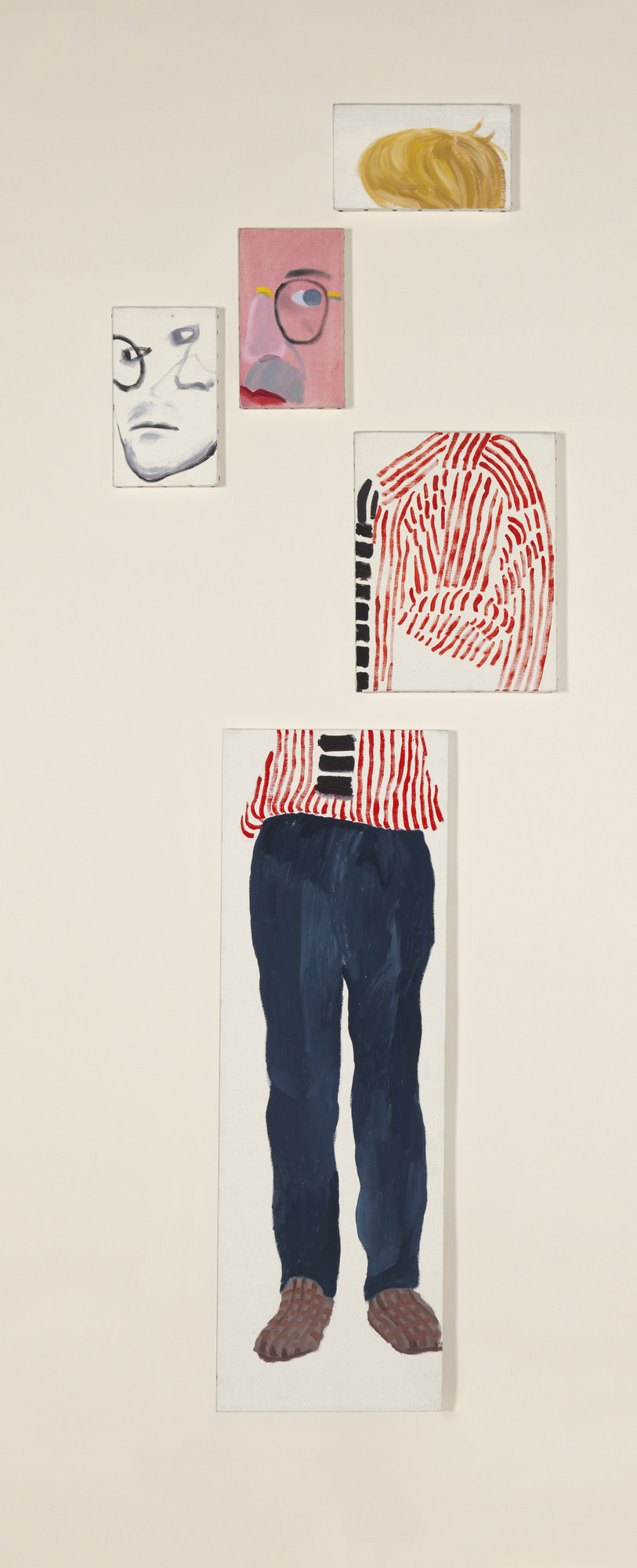 "David Hockney, ""Self Portrait,"" 1984/1986, oil on five canvases, 68.75 inches by 24 inches."