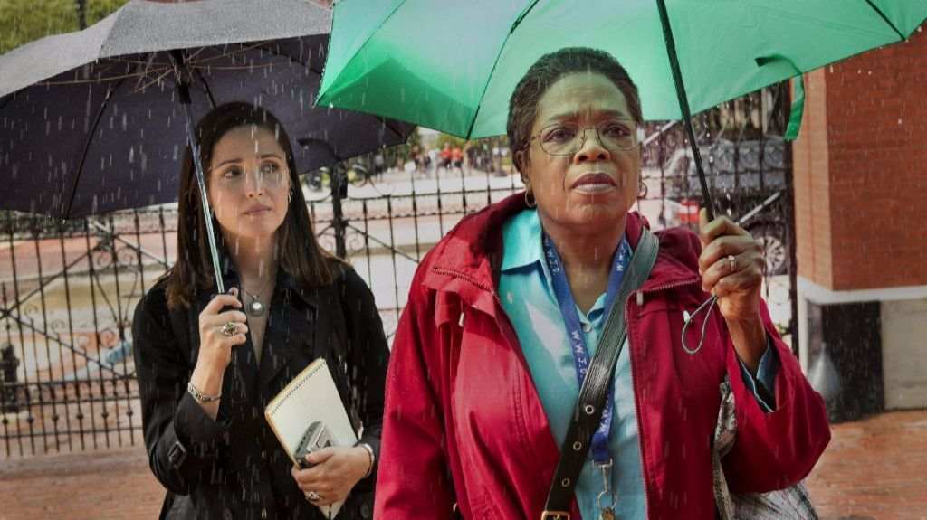 "Oprah Winfrey, right, with Rose Byrne in HBO's ""The Immortal Life of Henrietta Lacks."" (Quantrell Colbert / HBO)"