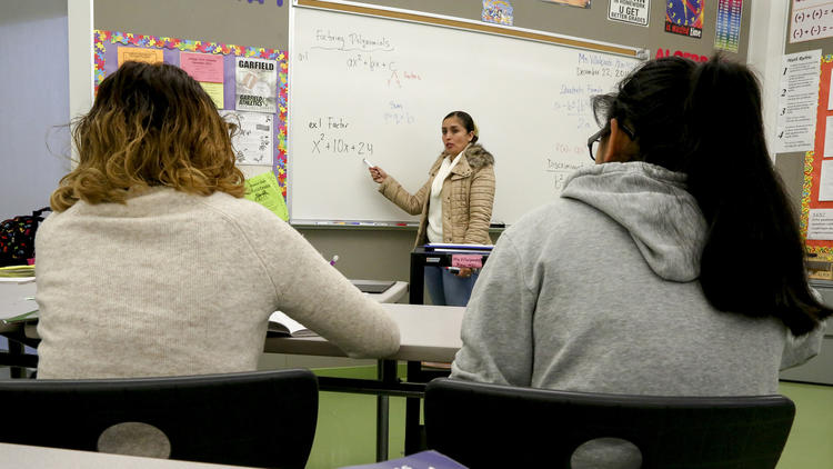 Math teacher Liliana Villalpando leads her students through a course at Garfield High School. (Mark Boster / Los Angeles Times)