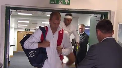 Video: Rafael Nadal bangs his head on door frame while jumping to loosen up before Wimbledon loss