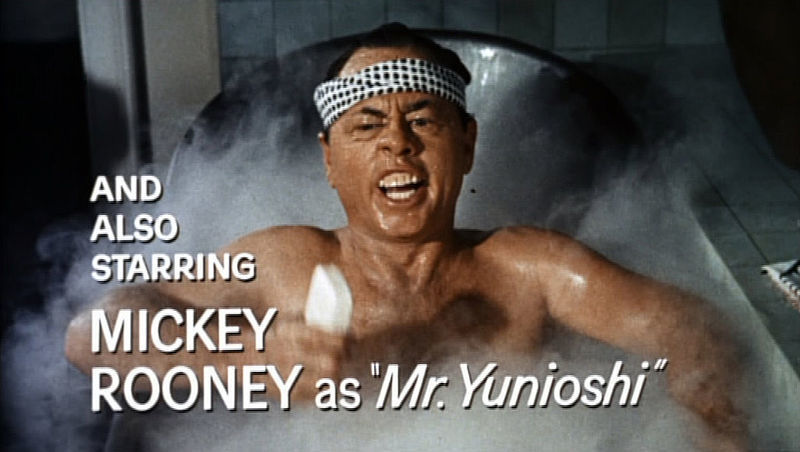 "Mickey Rooney in the trailer for ""Breakfast at Tiffany's."""