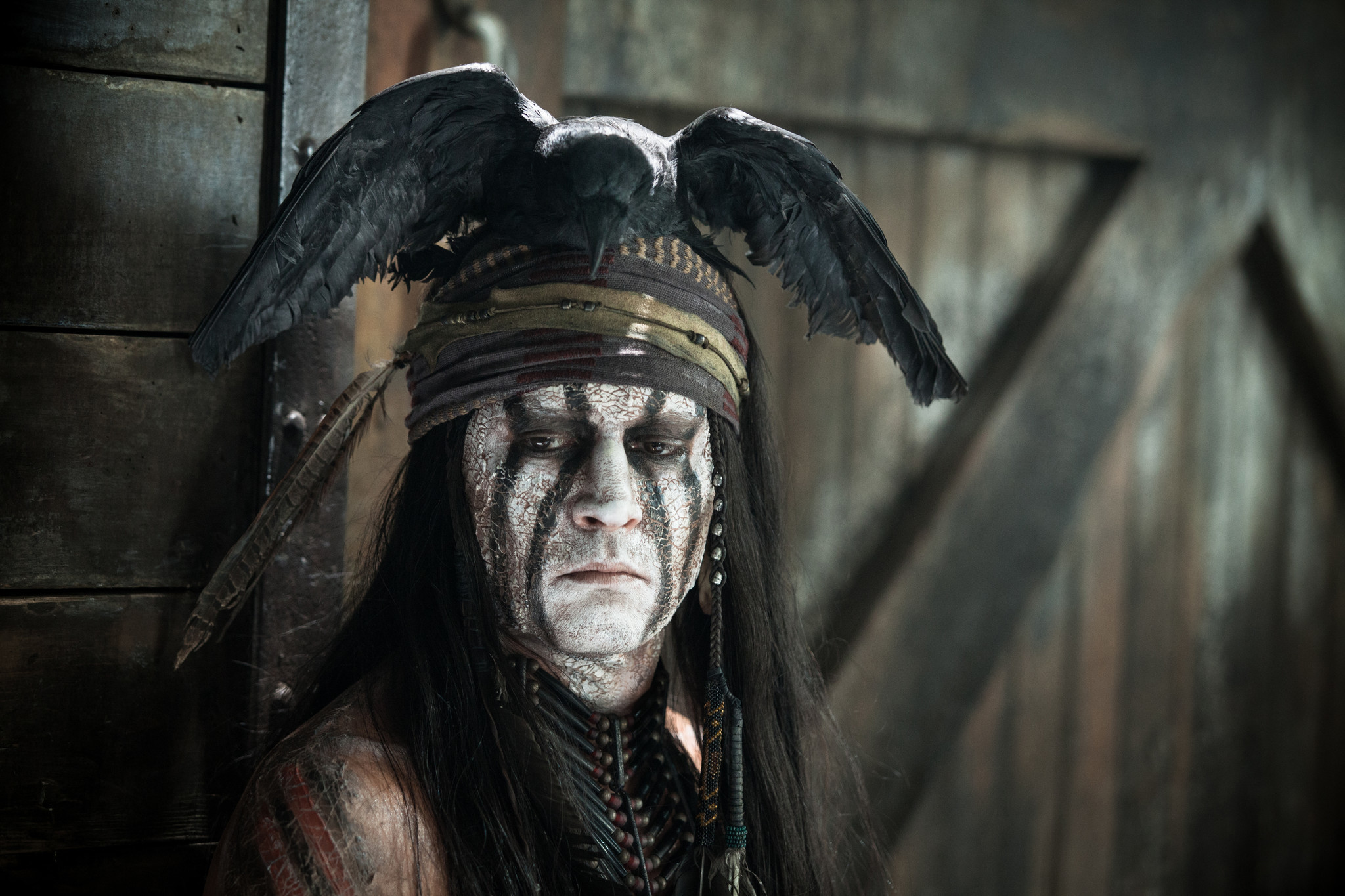"Johnny Depp as Tonto in the movie. ""The Lone Ranger."""
