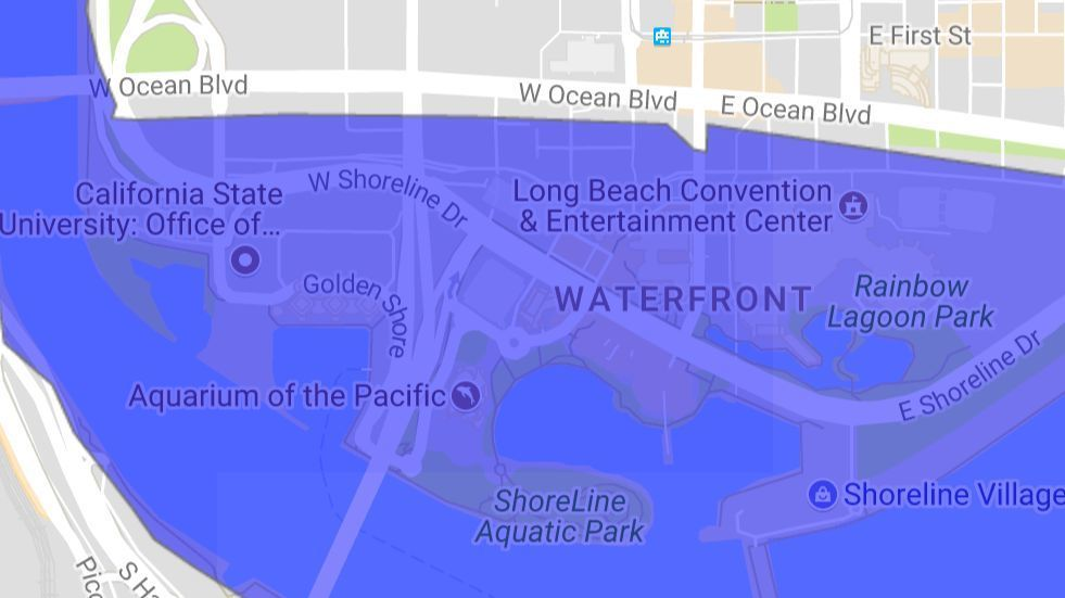 Areas south of Ocean Boulevard in Long Beach could be flooded in a major tsunami.
