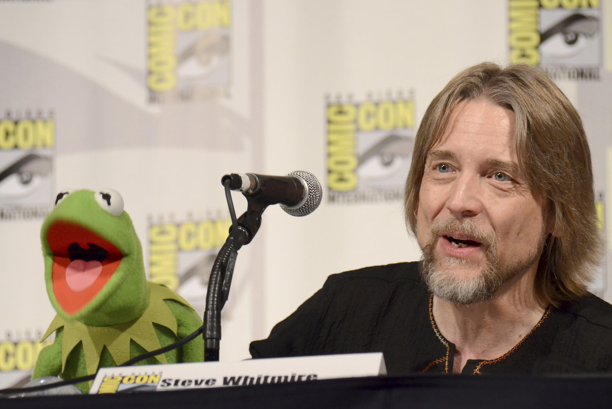 Steve Whitmire appears with Kermit the Frog at the 2015 San Diego Comic-Con. (Tonya Wise / Invision/Associated Press)