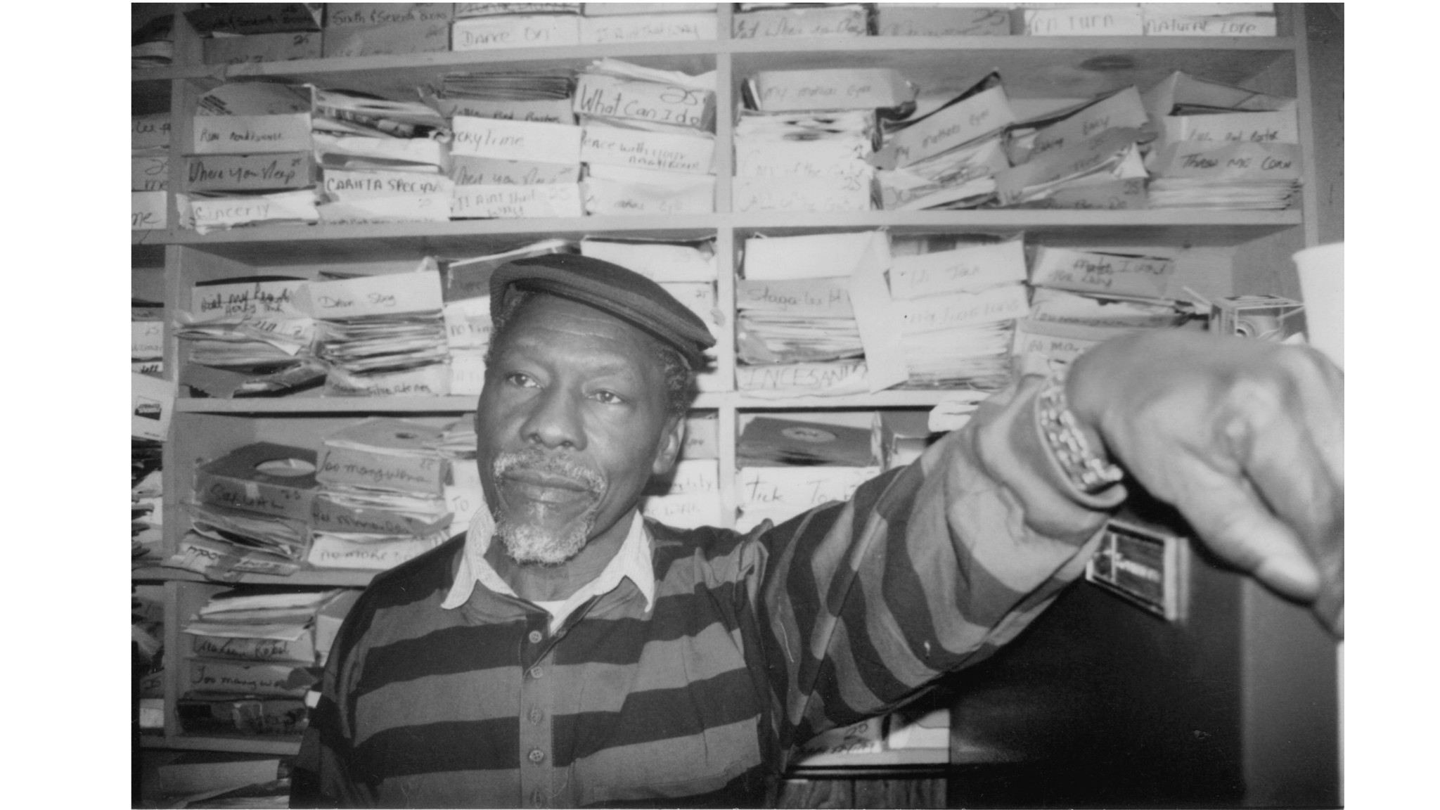 "Clement ""Coxson"" Dodd, founder of Studio One, the Wailers' first label, at his studio in Brooklyn in 1993."