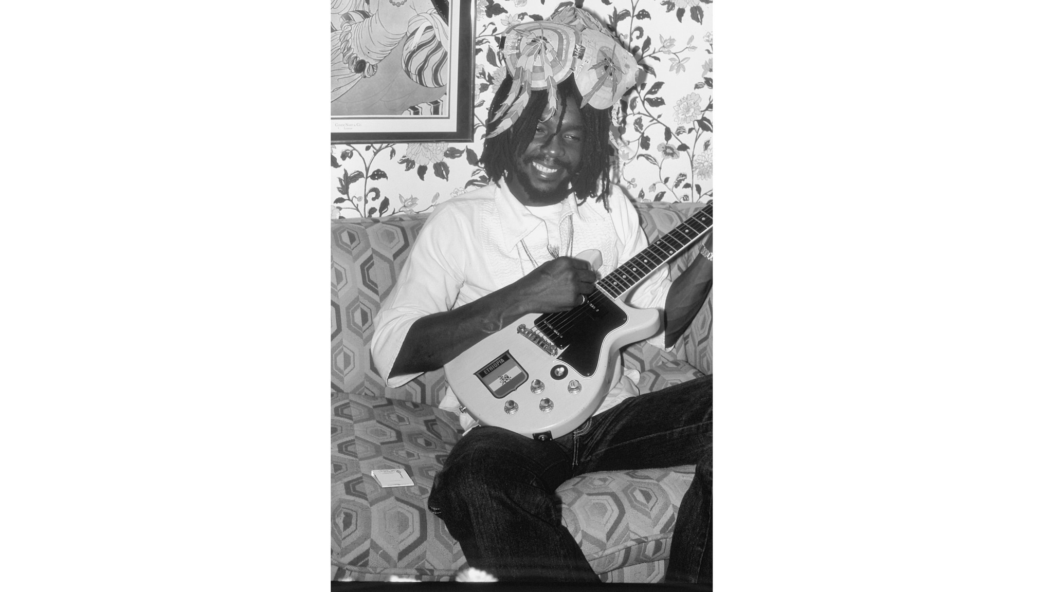 "Wailers co-founder Peter Tosh, wearing a hat with the words to ""Legalize It"" in Hollywood in 1979."
