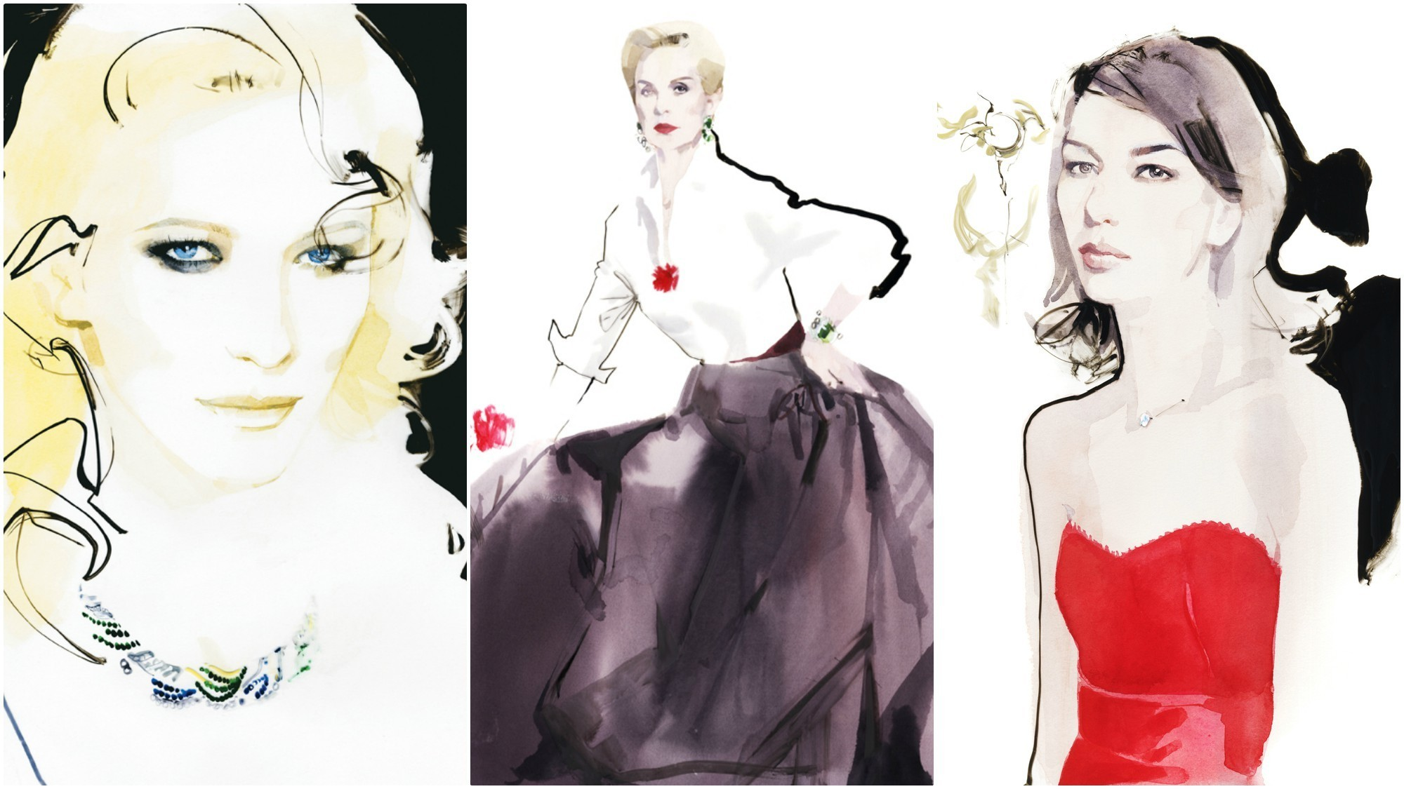 Renderings of Cate Blanchett, from left, Carolina Herrera and Sofia Coppola by fashion illustrator and celebrity portrait artist David Downton.