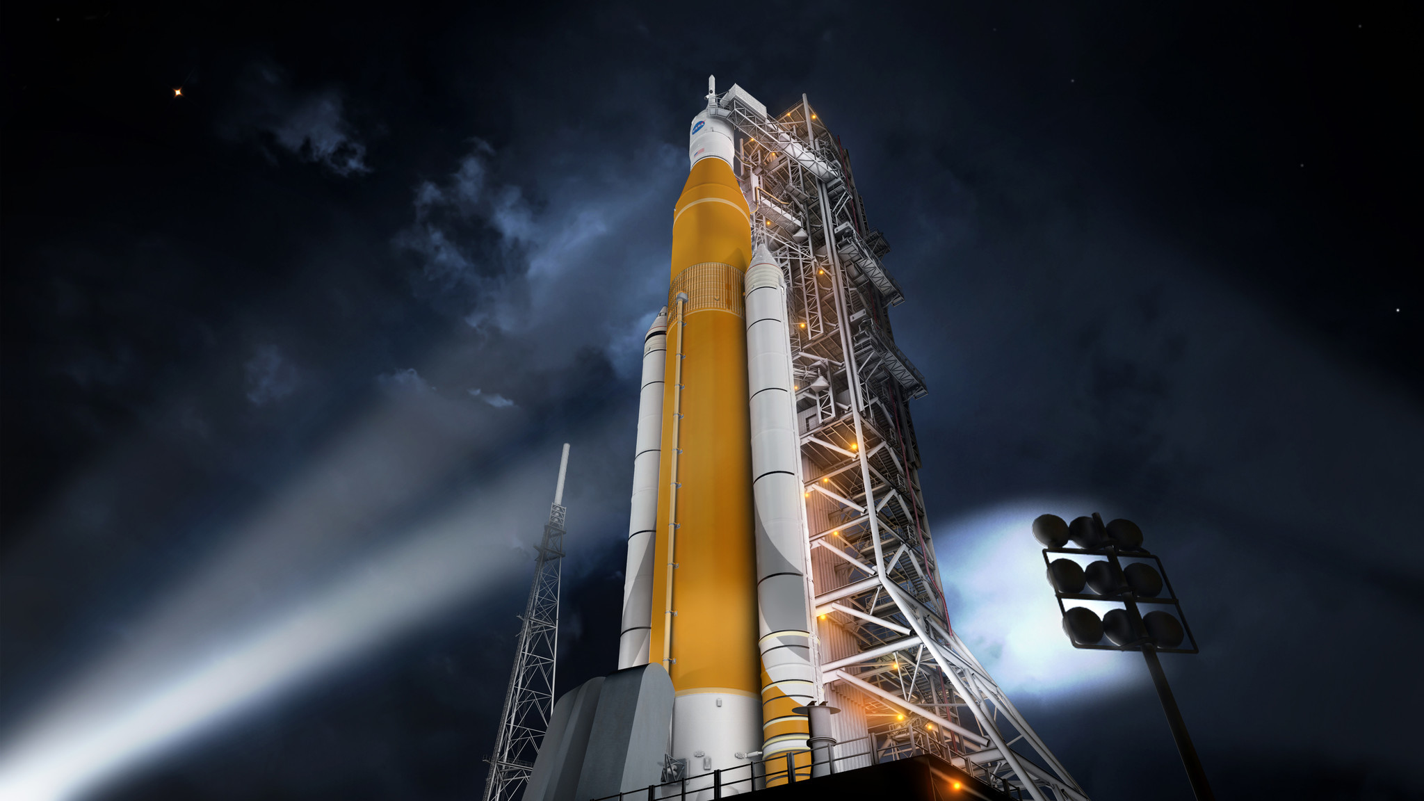 A rendering of NASA's Space Launch System.
