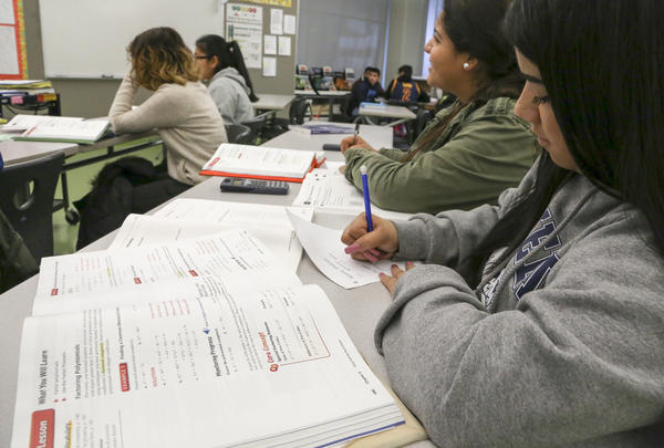 Students take part in an in-person algebra credit recovery course at Garfield High School is East Los Angeles. (Mark Boster / Los Angeles Times)