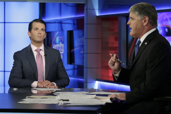 Donald Trump Jr. left with Sean Hannity on Tuesday