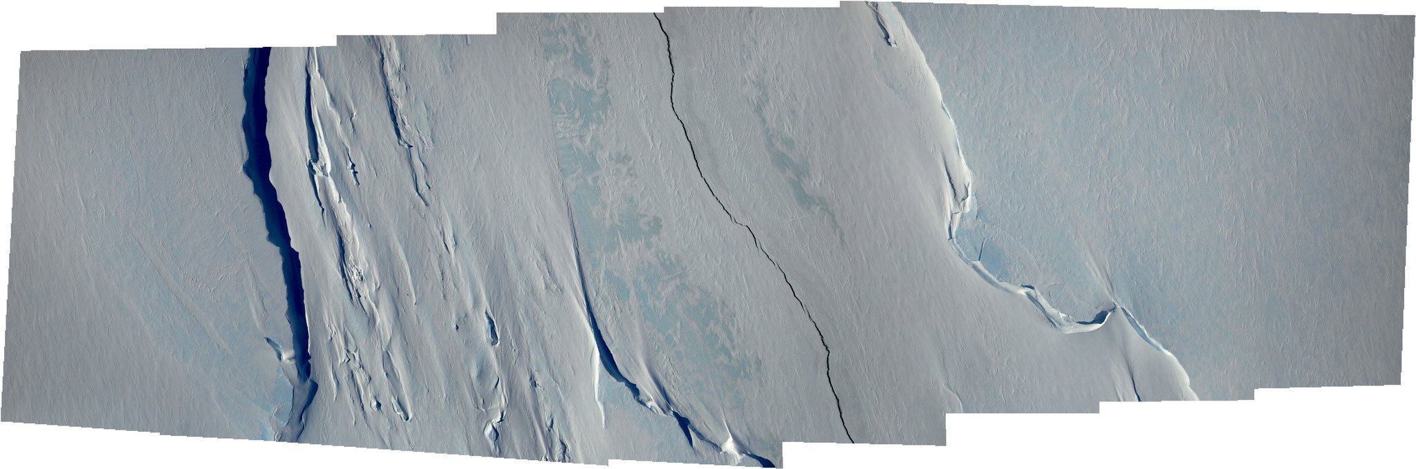 A composite of multiple images show a wider part of the rift in the Larsen C on Nov. 10, 2016.