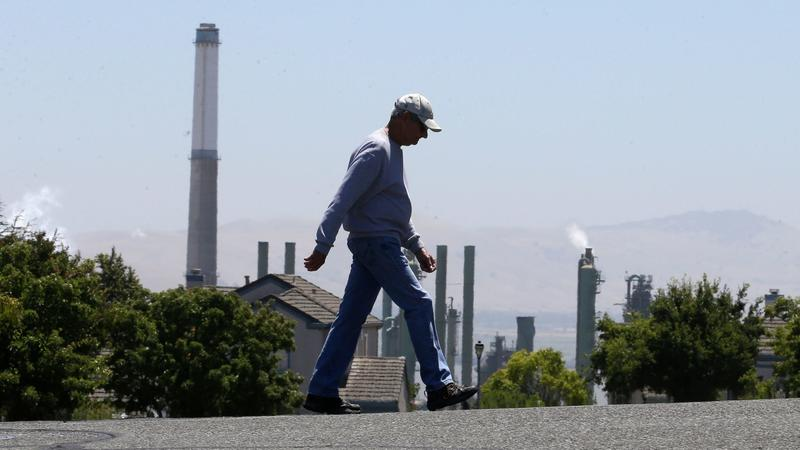 The stacks from Valero's refinery in Benicia, Calif. (Rich Pedroncelli / Associated Press)