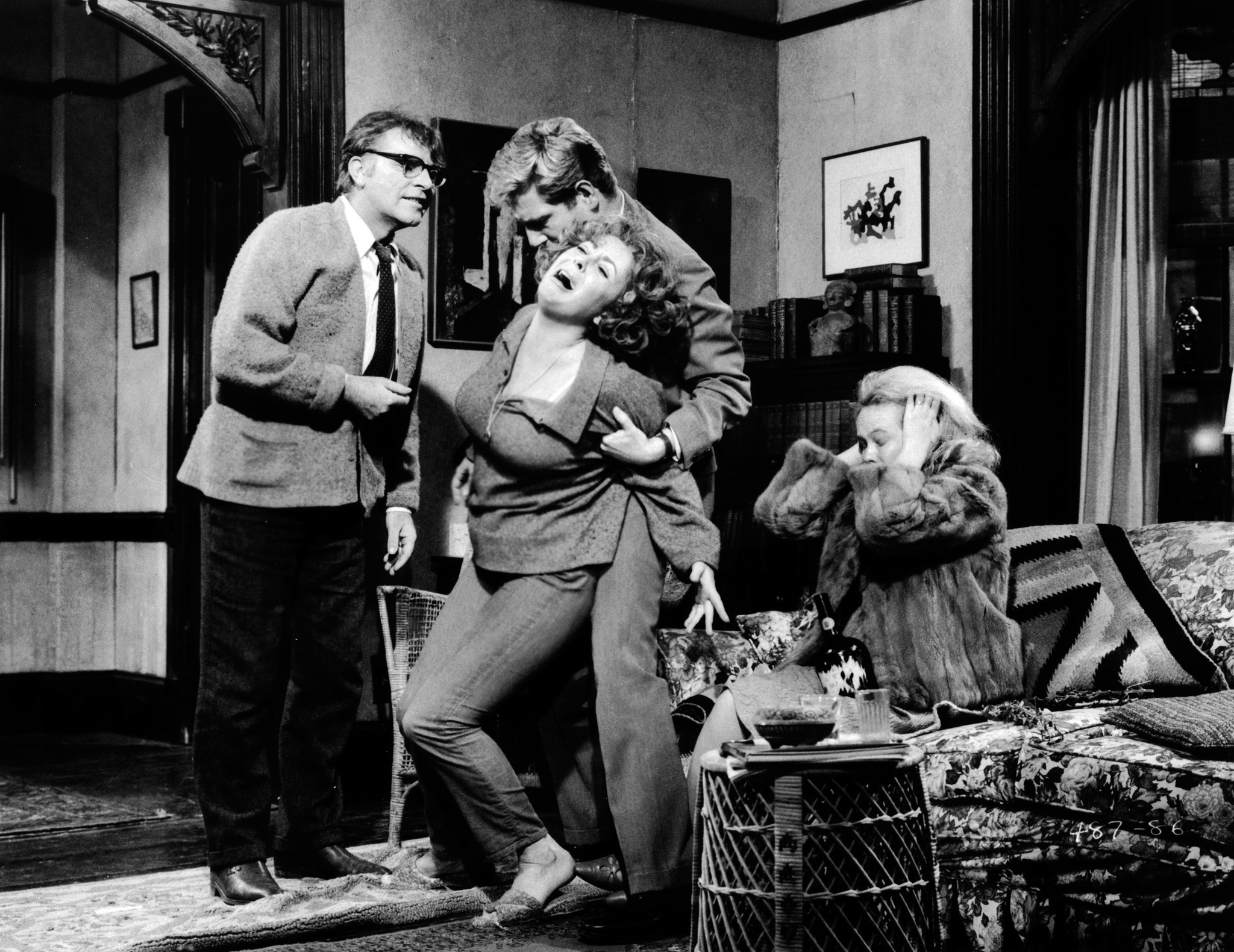 """The 1966 movie adaptation of """"Who's Afraid of Virginia Woolf?"""" with, from left, Richard Burton, Elizabeth Taylor, George Segal and Sandy Dennis."""