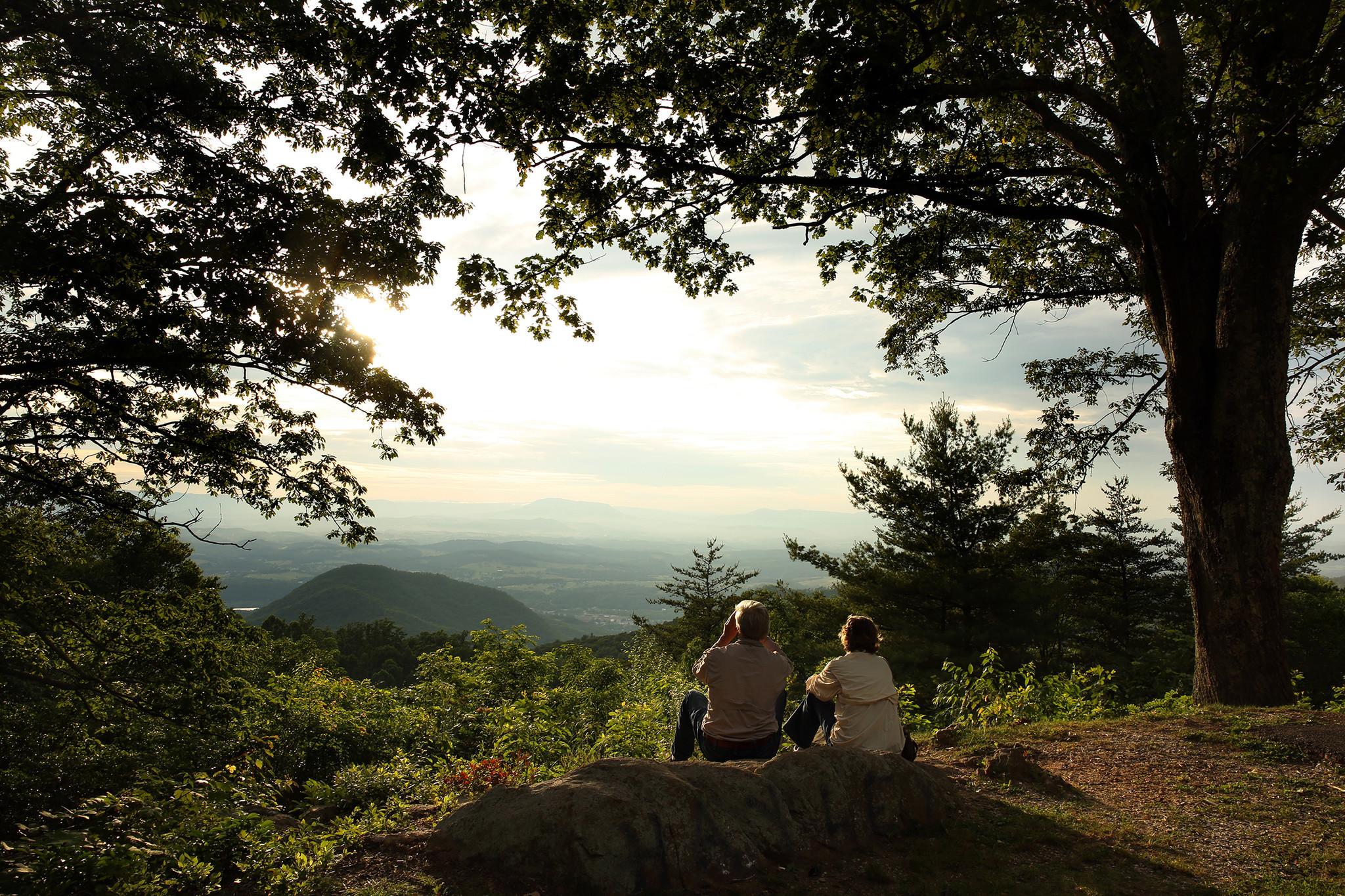 Robert Gorman and Carolyn Portier-Gorman of Thibodaux, La., admire the view from the Blue Ridge Parkway outside Roanoke, Va.