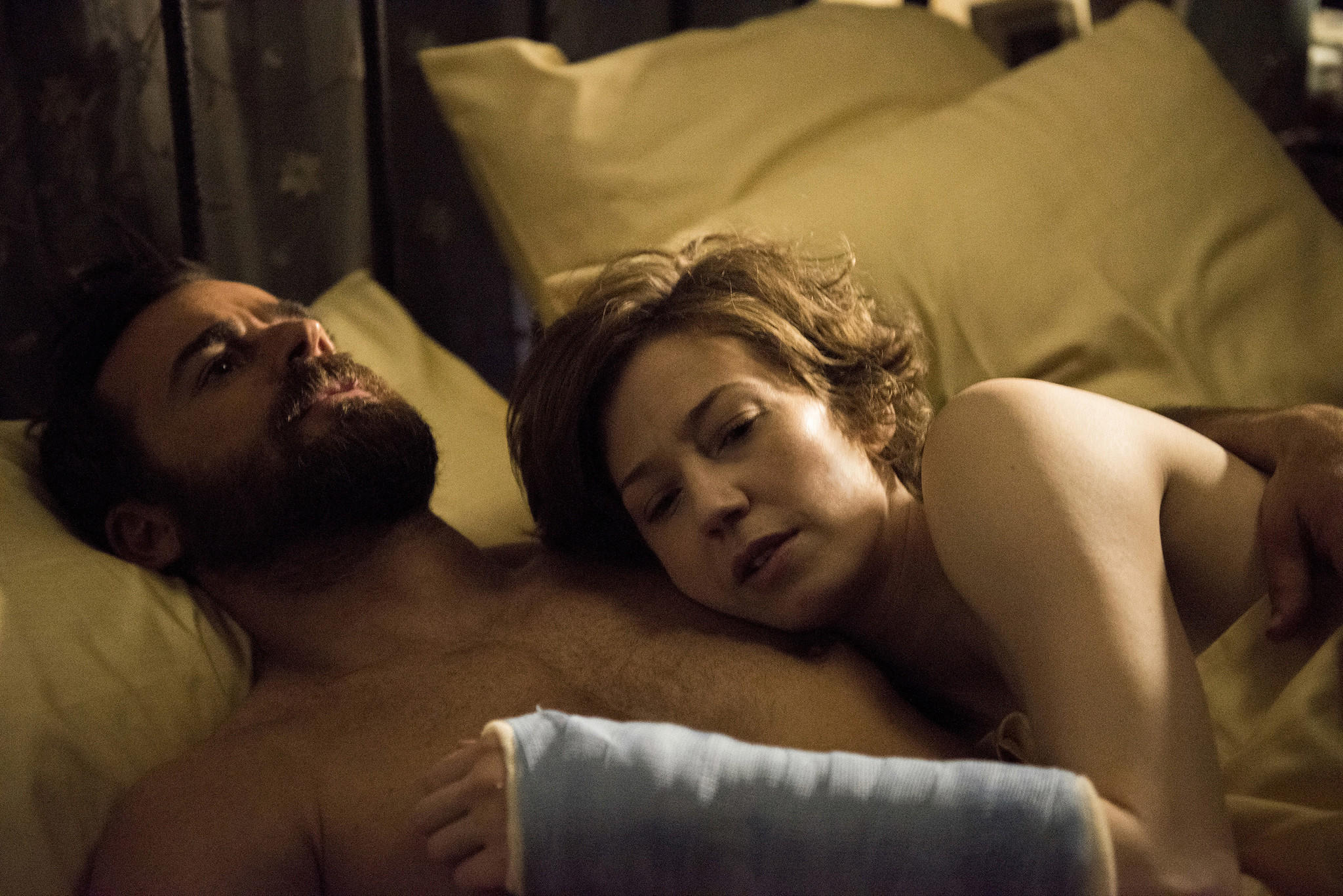 "Justin Theroux and Carrie Coon, neither of whom were nominated for their work on ""The Leftovers."" (Van Redin / HBO)"