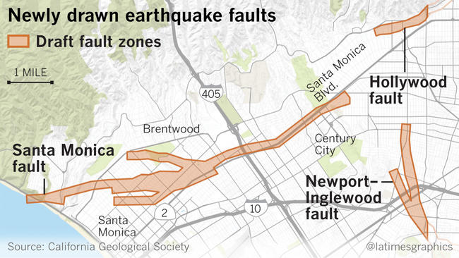 Earthquake Fault Maps For Beverly Hills Santa Monica And Other - West coast fault lines
