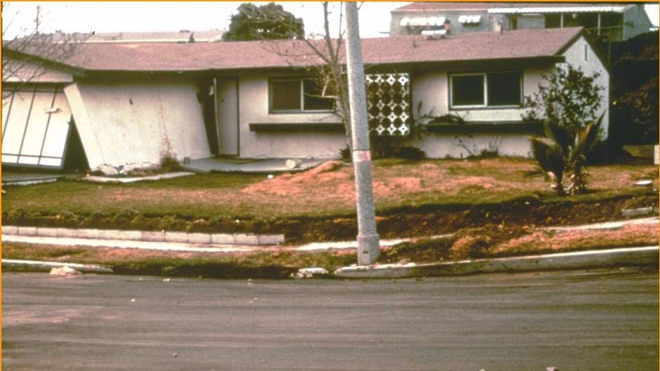 The fault that moved during the 1971 Sylmar earthquake broke the ground through this home. Before the earthquake, the street and lawn were flat. Damage from this earthquake resulted in a state law being passed banning new construction on top of faults in state-mapped zones.