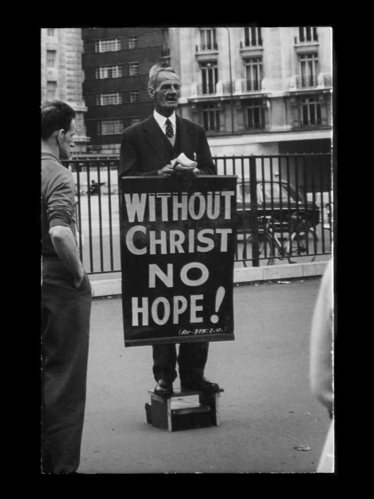 """Untitled (Hyde Park Evangelist),"" 1961-67, by Dennis Hopper."