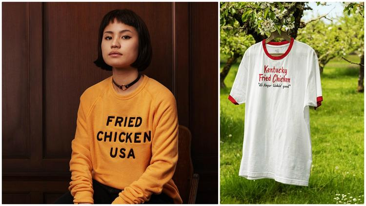 Fried chicken USA sweatshirt and vintage ringer T-Shirt.